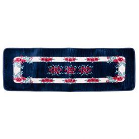 Passadeira Sevilha 60X1,80M Para Sala E Quarto  - Floral Azul