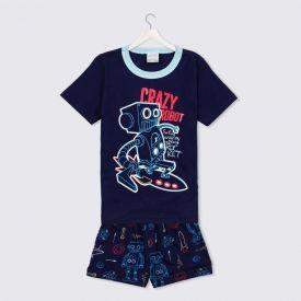 Pijama 1 a 3 Anos Estampa Robô Alakazoo Marinho