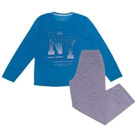 Pijama 12 a 16 anos New York Hot Dog Azul