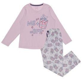 Pijama 12 a 16 anos Pipoca Time com Calça Marmelada Rosa