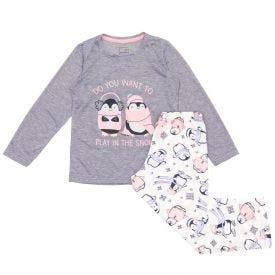 Pijama 4 a 10 anos Pinguim com Calça Marmelada Mescla
