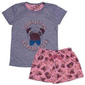 Pijama 4 a 10 anos Pug Marmelada Mescla