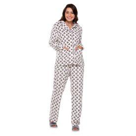 Pijama Aberto Fleece Rotativo Mickey Disney Off White/Cinza