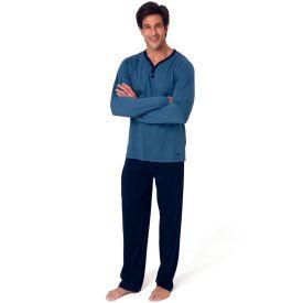 Pijama Básico Decote Y Mash Azul Marinho