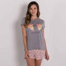 Pijama Com Estampa Pizzas Holla Mescla
