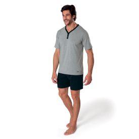 Pijama Curto com Peitilho Mash Preto