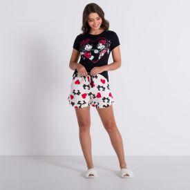 Pijama Curto Corações Casal Disney Preto/Off White