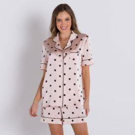 Pijama Curto de Cetim Camila Moretti Rosa
