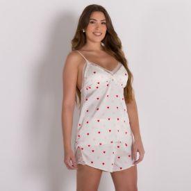 Pijama Curto De Cetim Estampa Corações Camila Moretti Off White