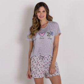 Pijama Curto De Poliéster Peace And Love Holla Mescla