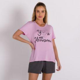 Pijama Curto de Viscose Holla Rosa
