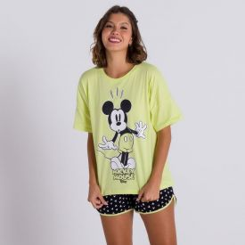 Pijama Curto Estampa Mickey Mouse Disney Preto/Verde