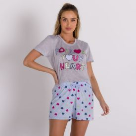 Pijama Curto Heart Com Shorts Holla Mescla