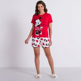 Pijama Curto Minnie Apaixonada Disney Vermelho/Off White