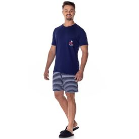 Pijama Curto Raglan com Bolso Mickey Disney Marinho
