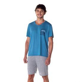 Pijama Curto U.S.A Marc Alain Azul Jeans