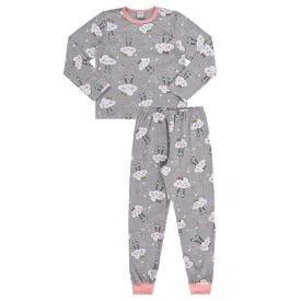 Pijama de 1 a 3 Anos Malha Figuras Nuvens Alakazoo Mescla