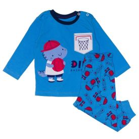 Pijama de Bebê Dino Basketball Yoyo Baby Azul Ceu