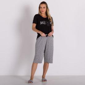 Pijama de Viscose Com Capri Holla Preto