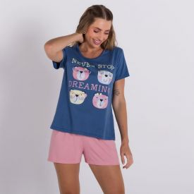Pijama Dream Com Shorts Holla Azul