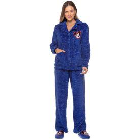 Pijama Fleece Aberto Mickey Bordado Disney Azul/Branco