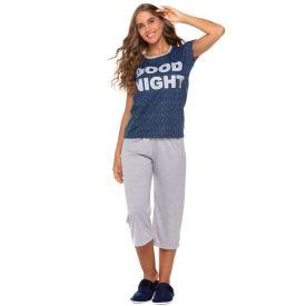 Pijama Good Night com Capri Holla Azul/Mescla