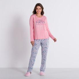 Pijama Happy com Glitter Holla Rosa