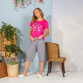 Pijama Heart Com Capri Holla Rosa