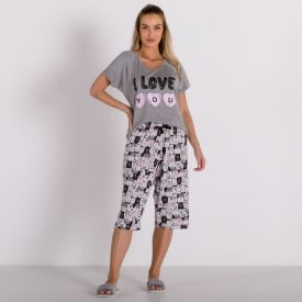 Pijama I Love You Com Capri Holla Mescla