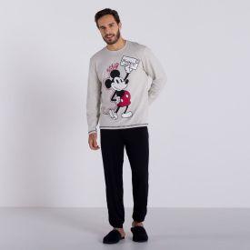 Pijama Longo Básico Mickey Disney  Mescla/Preto