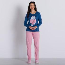 Pijama Longo Cat in Love Holla Azul