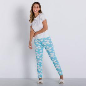 Pijama Longo Com Calça Jogger Holla Off White/Nuvem