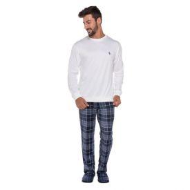 Pijama Longo com Calça Xadrez Marc Alain Marinho