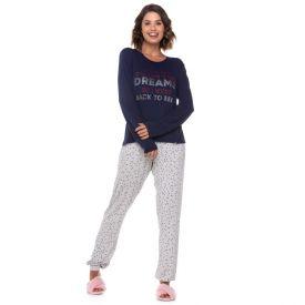 Pijama Longo com Escrita Holla Marinho
