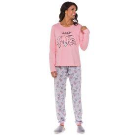 Pijama Longo com Punho Preguiça Holla Rosa