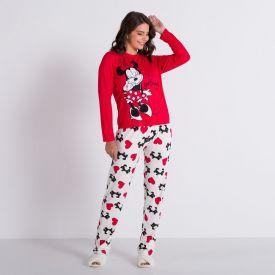 Pijama Longo Corações Minnie Apaixonada Disney Vermelho/Off White