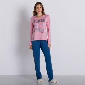Pijama Longo Cute Com Calça Holla Rosa