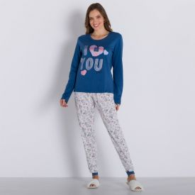 Pijama Longo Cute Holla Azul