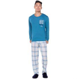 Pijama Manga Longa New York Marc Alain Azul