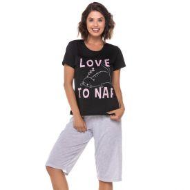 Pijama Meia Estação Love To Nap Holla Preto