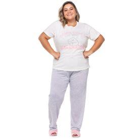 Pijama Meia Estação Plus Size Hibernation Holla Off White
