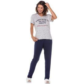 Pijama Meia Estação Poá com Escrita Holla Estampado