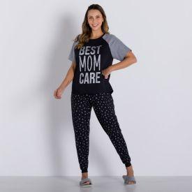 Pijama Mom Care Holla Preto