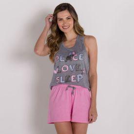 Pijama Peace And Love Com Shorts Holla Mescla