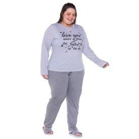 Pijama Plus Size Clean Star com Calça Holla Cinza