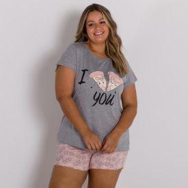 Pijama Plus Size Estampa Pizza Holla Mescla
