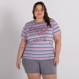 Pijama Plus Size Weekend Com Shorts Holla Estampado