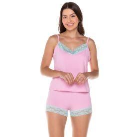 Pijama Poliamida com Acabamento de Renda Camila Moretti Rosa
