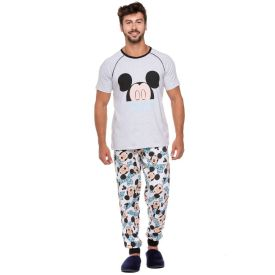 Pijama Raglan Longo com Punho Disney Azul Médio
