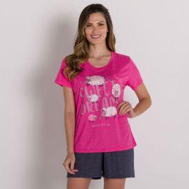 Pijama Sheep Night Com Shorts Holla Pink